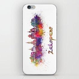 Zakopane skyline in watercolor splatters iPhone Skin