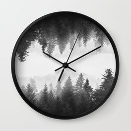 Black and white foggy mirrored forest Wall Clock