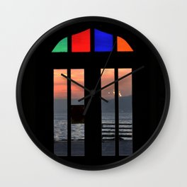 colorful door in istanbul port Wall Clock