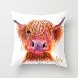 Scottish Highland Cow ' CHILLI CHOPS ' by Shirley MacArthur Throw Pillow