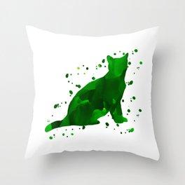 Green watercolor cat Throw Pillow