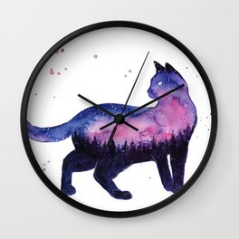 Galaxy Forest Cat Wall Clock