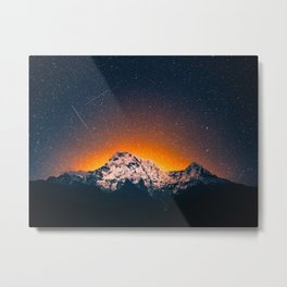 Glowing Snow Mountains Magical Star Night Sky Shooting Star Landscape Metal Print