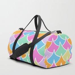 Preppy Waves Pattern Fishscale Pastel Rainbow Duffle Bag