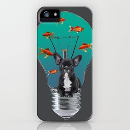 French Bulldog in bulb with goldfishes iPhone Case