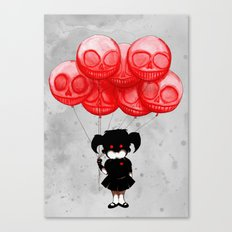 Creepy Girl Skeleton Balloons  Canvas Print