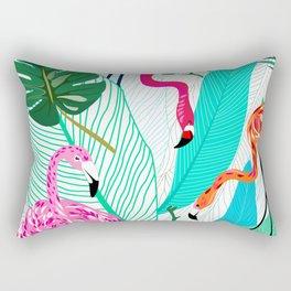 Tropical Flamingo Pattern Rectangular Pillow