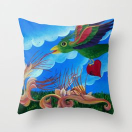 Flight of the wounded heart Throw Pillow