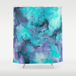Abstract lilac teal aqua watercolor pattern Shower Curtain