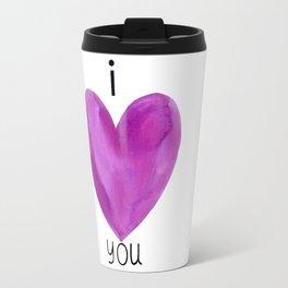 I heart you in purple Travel Mug