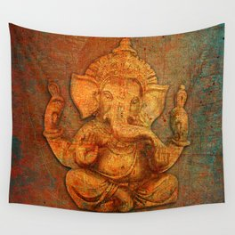 Lord Ganesh On a Distress Stone Background Wall Tapestry