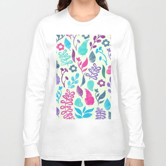 Watercolor Floral Pattern III Long Sleeve T-shirt