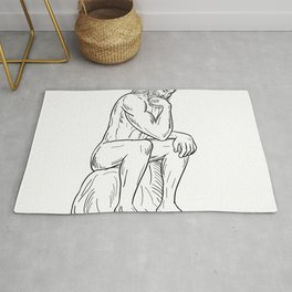 Man With Beard Sitting Thinking Drawing Black and White Rug