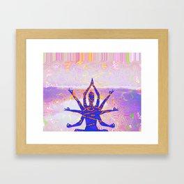 Kali Goddess Sunset Landscape with Tribal Glitch Pattern Framed Art Print