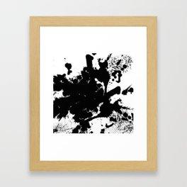 Black and white splat - Abstract, black paint splatter painting Framed Art Print