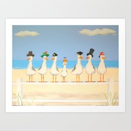 Seagulls with Hats Art Print
