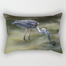 Great Blue Heron Catching Huge Frog - I Rectangular Pillow