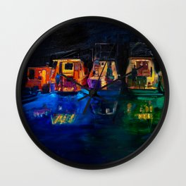 Boat Flotilla at Night at Octopus Island Wall Clock