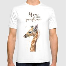 You Are My Sunshine Giraffe Nursery Animals Watercolor Art Mens Fitted Tee MEDIUM White