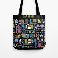 monsters Tote Bags featuring MONSTERS by Piktorama