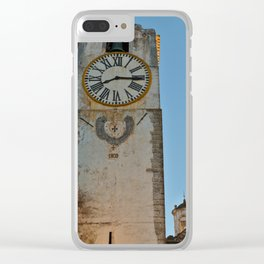 Old Church Clock Tower Clear iPhone Case