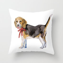 dog with red bow Throw Pillow