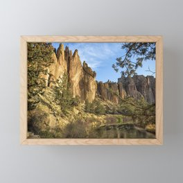 Cool Formations of Smith Rock in Morning Light Framed Mini Art Print