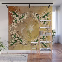 Saxophone with flowers Wall Mural