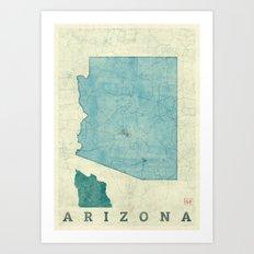 Arizona State Map Blue Vintage Art Print
