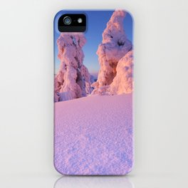 I - Sunset over frozen trees on a mountain, Levi, Finnish Lapland iPhone Case
