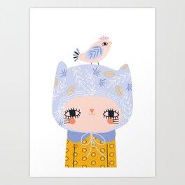 Cute Cat in Floral Hat with Bird Friend Art Print