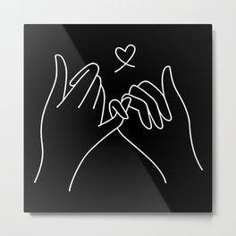 Abstract illustration of pinky promise always together concept minimalist pinky promise heart print Metal Print