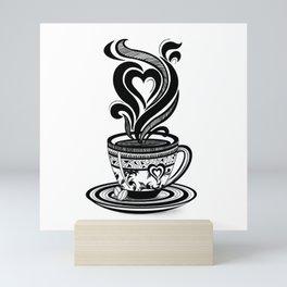 Coffee Love, Coffee Cup, Coffee Doodle Art, Coffee Illustration, Black and White Coffee Design Mini Art Print