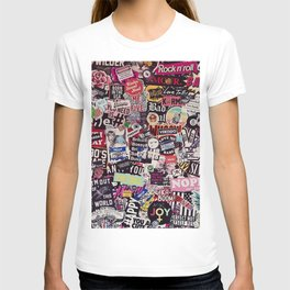 Colorful Sticker Vintage Abstract Pattern T-shirt