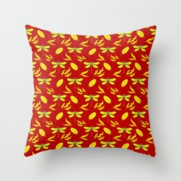 Pretty beautiful golden dragonflies, leaves elegant stylish dark red nature spring pattern. Throw Pillow