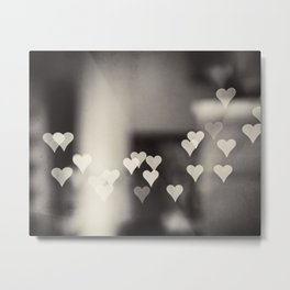 Hearts Abstract Photography, Black and White Love Heart Art Print Metal Print