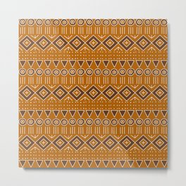 Mudcloth Style 2 in Burnt Orange and Brown Metal Print