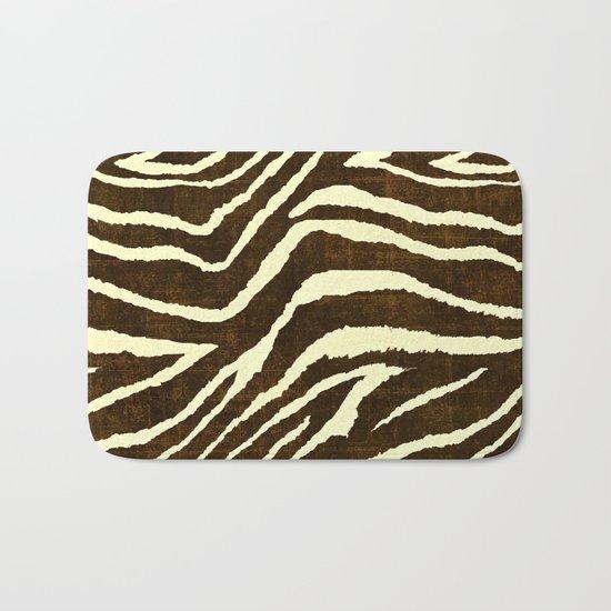Animal Print Zebra In Winter Brown And Beige Bath Mat By