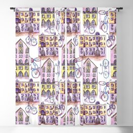 Bicycles in the town - pattern Blackout Curtain