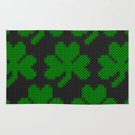 Shamrock pattern - black, green Rug