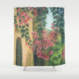 Picturesque patio_Pastel painting Shower Curtain