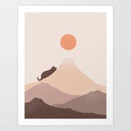 Good Morning Meow 4 Mount Fuji  Art Print