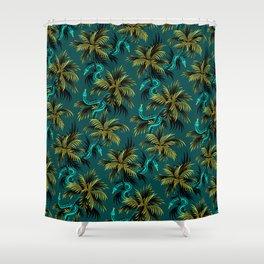 Snake Palms - Dark Teal Mustard Shower Curtain