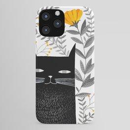 black cat with botanical illustration iPhone Case