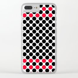 BLACK&RED POLKA DOTS Clear iPhone Case