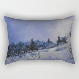 winter first comes in the mountain  Rectangular Pillow