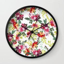 Blush pink red yellow modern hand drawn floral pattern Wall Clock