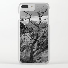 Withered Tree on top of Mountain Range, Big Bend - Landscape Photography Clear iPhone Case