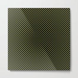 Black and Woodbine Polka Dots Metal Print