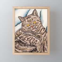 Grey Cat Framed Mini Art Print